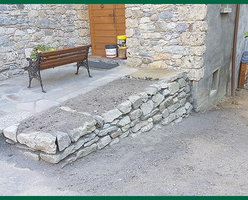Muret pierres sèches par Destaing Paysagiste à Aime